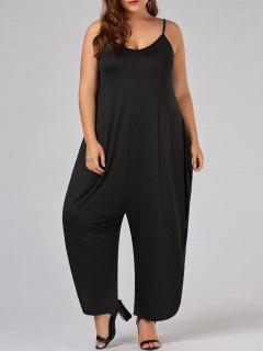 Plus Size Low Cut Spaghetti Strap Baggy Jumpsuit - Black 3xl