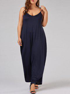 Plus Size Low Cut Spaghetti Strap Baggy Jumpsuit - Purplish Blue 6xl