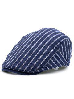 Striped Embellished Flat Newsboy Hat - Cerulean