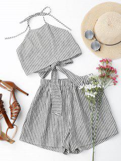 Halter Striped Two Piece Suit - Stripe M