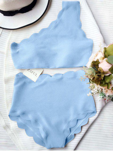 shop High Waisted Scalloped One Shoulder Bikini - LIGHT BLUE S Mobile