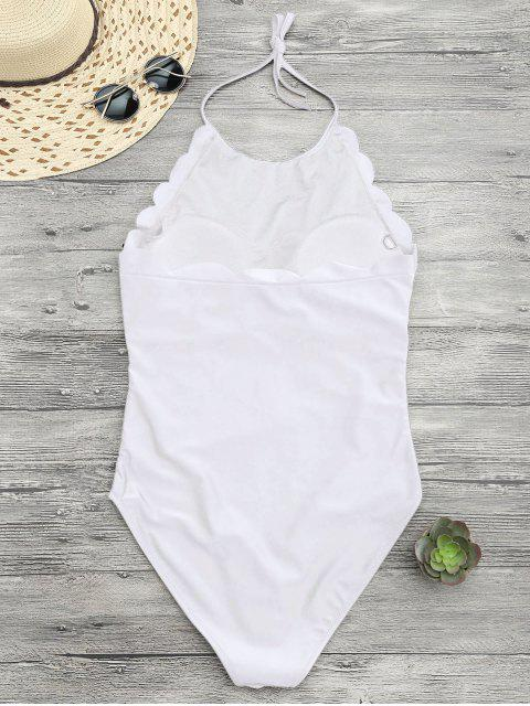 outfits Scalloped High Neck Swimwear - WHITE L Mobile