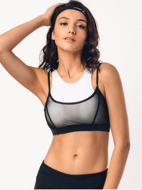 women's Two Tone Mesh Panel Racerback Sporty Bra - WHITE AND BLACK L Mobile