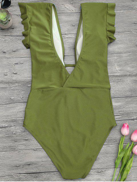 buy Frilled Plunge One Piece Swimsuit - GREEN M Mobile