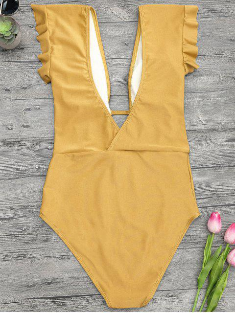 online Frilled Plunge One Piece Swimsuit - GINGER S Mobile