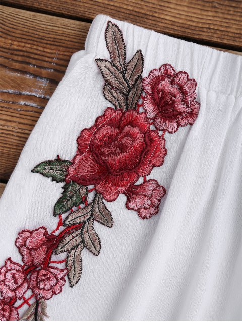 womens Elastic Waist Floral Applique Cover Up Shorts - WHITE S Mobile