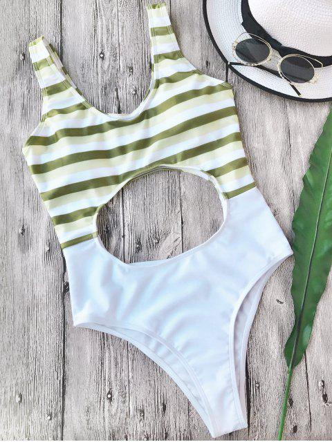 fashion Striped Cut Out One Piece Swimsuit - WHITE S Mobile