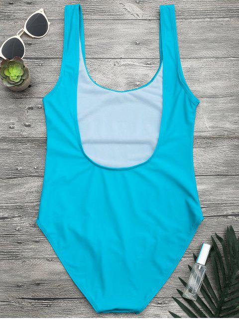 sale Open Back One Piece Graphic Swimsuit - LAKE BLUE L Mobile