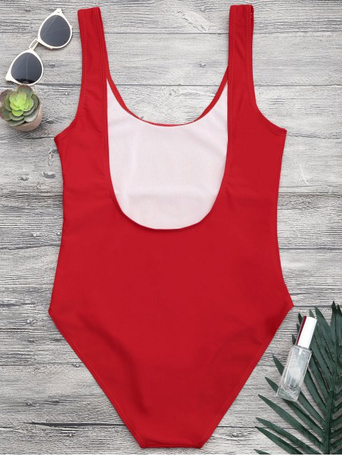 women's Open Back One Piece Graphic Swimsuit - RED S Mobile