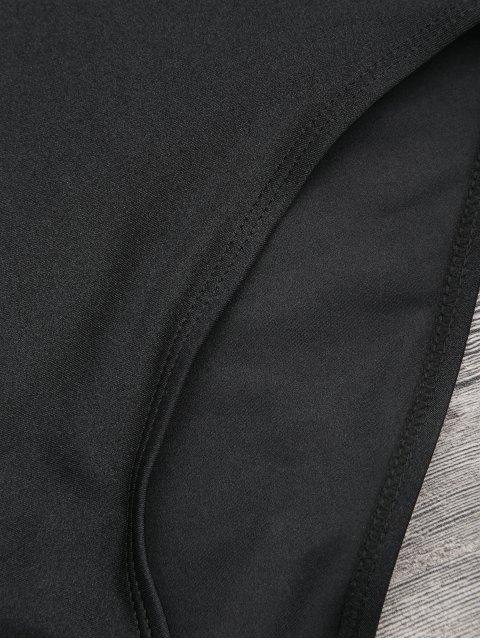 Combinaison de maillot graphique à motif contrasté à dos ouvert - Noir M Mobile
