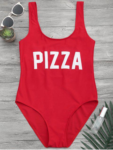 online Open Back Contrast Graphic One Piece Swimsuit - RED L Mobile