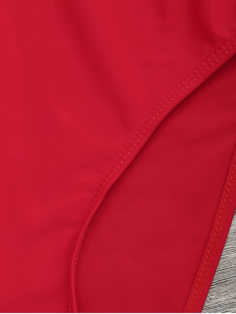 Combinaison de maillot graphique à motif contrasté à dos ouvert - Rouge M Mobile