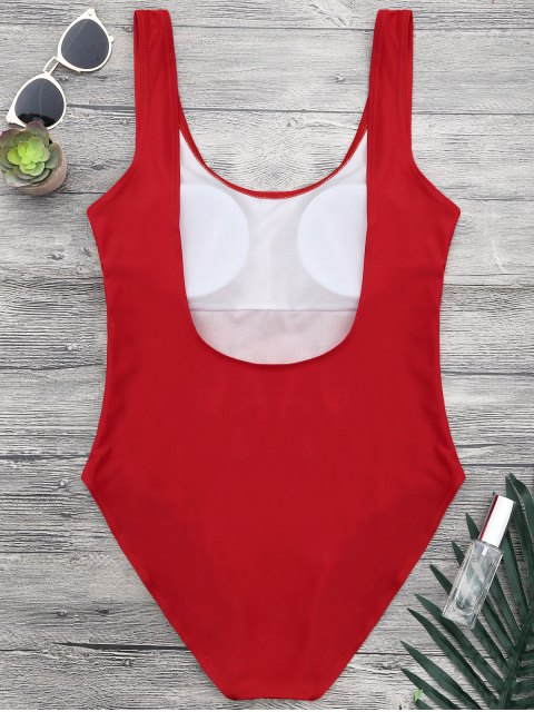 outfits Shaping Low Back One Piece Graphic Swimsuit - RED M Mobile