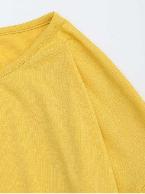 unique Round Collar Tiered Ruffle Hem Tee - YELLOW L Mobile