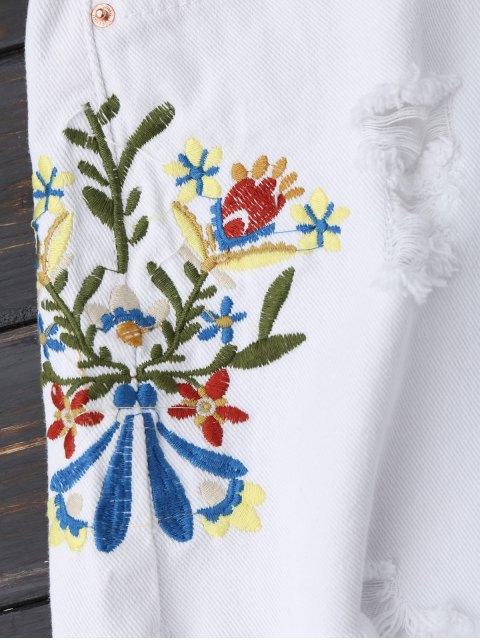Shorts denim brodés brodés - Blanc L Mobile
