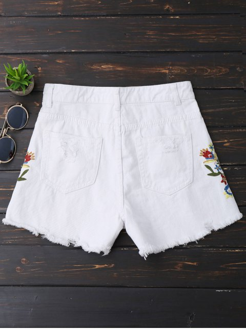 Shorts denim brodés brodés - Blanc M Mobile
