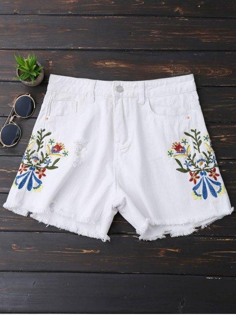 Shorts denim brodés brodés - Blanc S Mobile