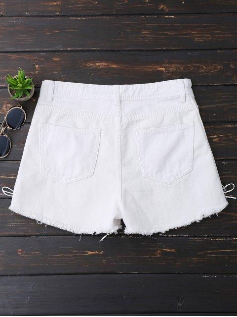 Shorts en denim lacé haut latéral à pan rude - Blanc L Mobile
