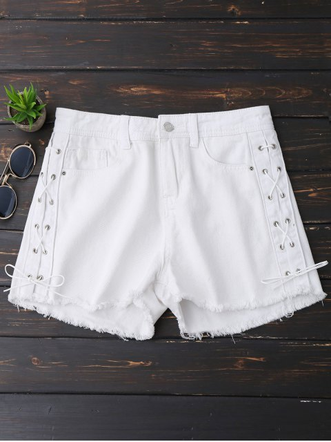 outfit Frayed Hem Side Lace Up Denim Shorts - WHITE S Mobile