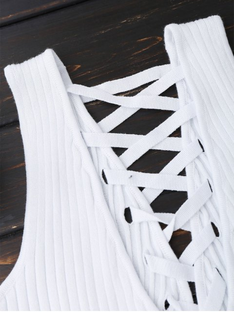 chic Ribbed V Neck Back Lace Up Tank Top - WHITE ONE SIZE Mobile