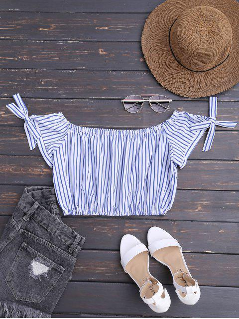 affordable Off The Shoulder Striped Crop Blouse - STRIPE XL Mobile