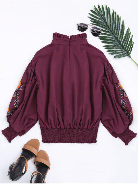 women's Puff Sleeve Floral Embroidered Ruffled Blouse - DEEP RED S Mobile