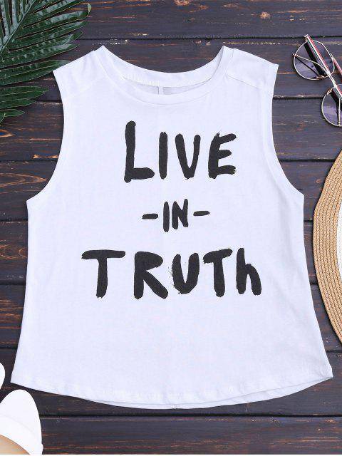 Camiseta sin mangas de la letra de Streetwear - Blanco S Mobile