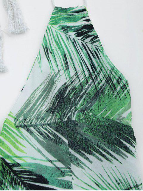 fashion Halter Open Back Leaves Print Romper - LIGHT GREEN L Mobile