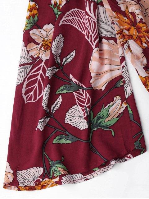buy Floral Drawstring Off Shoulder Romper - FLORAL L Mobile