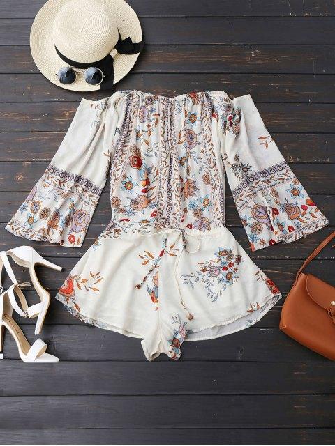 women's Off Shoulder Floral Drawstring Playsuit - WHITE L Mobile