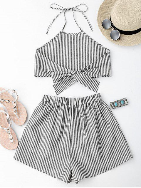 online Halter Striped Two Piece Suit - STRIPE S Mobile