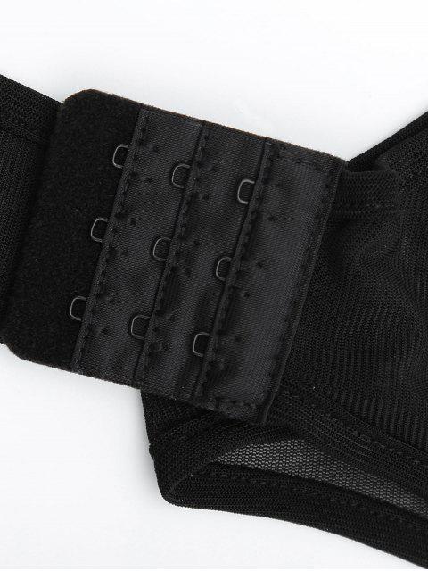 chic Sheer Rhineston Embellished Bodysuit - BLACK XL Mobile