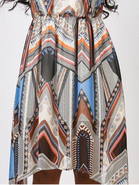 outfit Hanky Hem Patchwork Print Chiffon Dress - MULTICOLOR XL Mobile