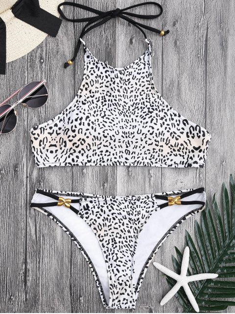 shop Metal Leopard Print Halter Bikini - LEOPARD L Mobile