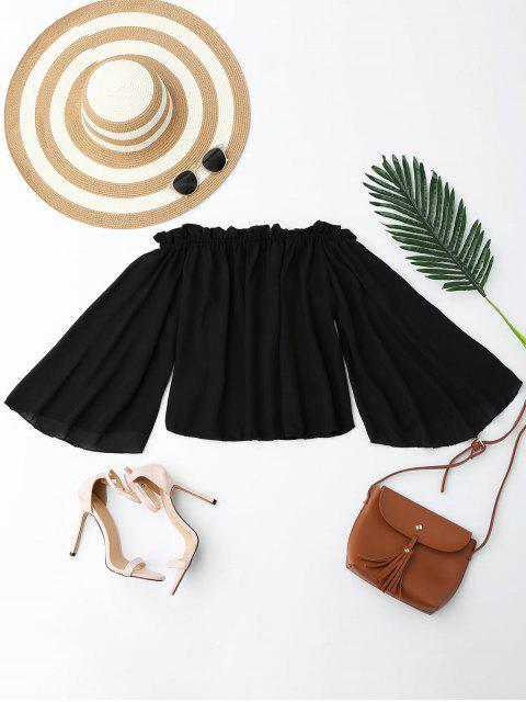chic Chiffon Off The Shoulder Ruffles Blouse - BLACK S Mobile
