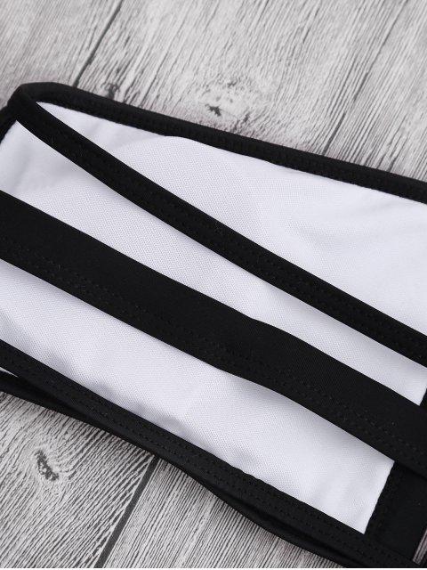 hot Padded Two Tone Bandage Bikini Set - WHITE M Mobile
