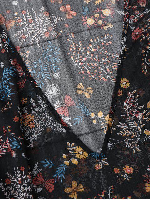 women's Semi Sheer Floral Print Chiffon Dress - FLORAL M Mobile