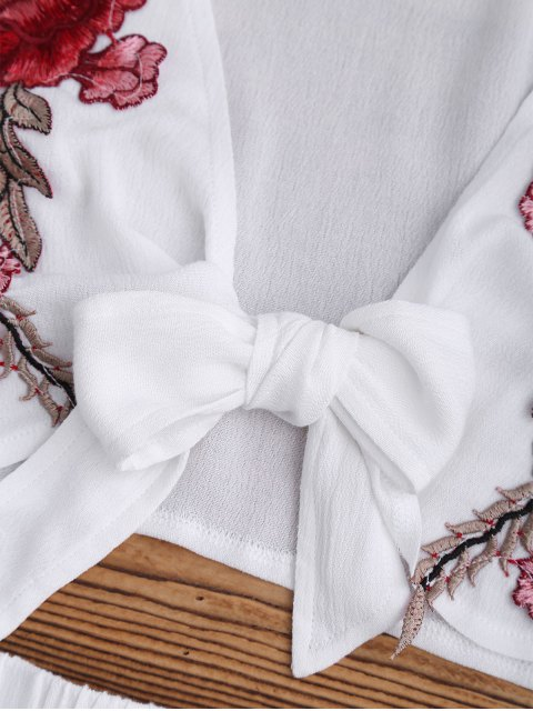 women Bowknot Floral Applique Top and Shorts - WHITE L Mobile