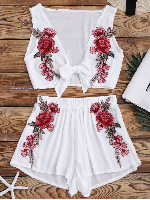 women's Bowknot Floral Applique Top and Shorts - WHITE M Mobile