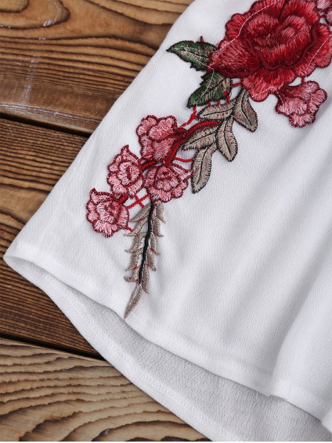 ladies Bowknot Floral Applique Top and Shorts - WHITE S Mobile