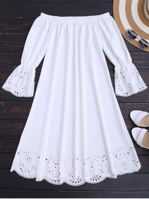 unique Laser Cut Midi Off The Shoulder Dress - WHITE S Mobile
