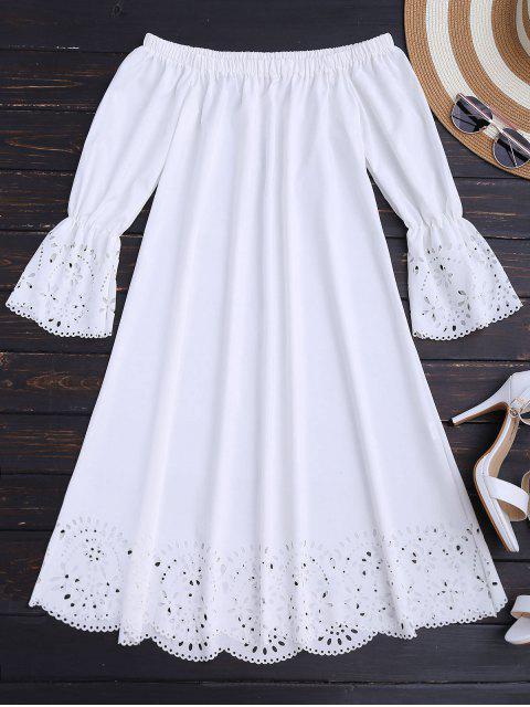 Vestido Midi Fuera del Hombro con Detalle Ahuecado - Blanco L Mobile