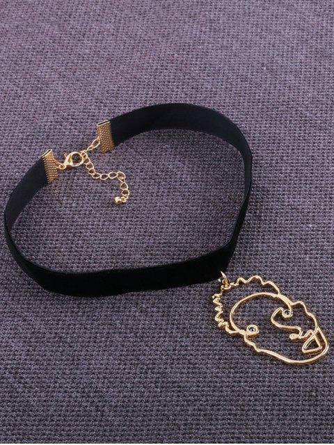 shops Metallic Hollow Out Face Funny Choker - BLACK  Mobile