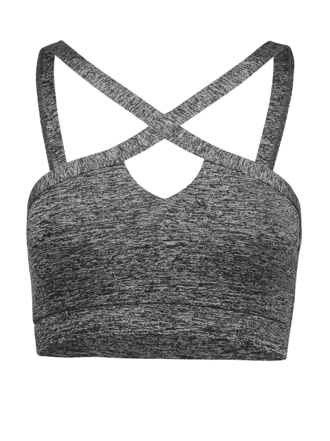 affordable Cross Front Heathered Sporty Bra - GRAY S Mobile