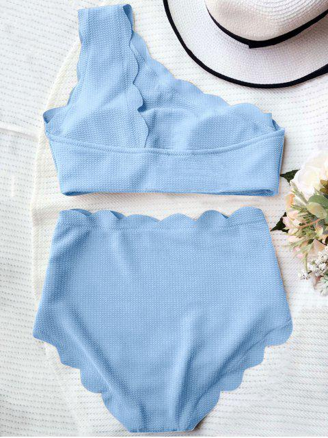 hot High Waisted Scalloped One Shoulder Bikini - LIGHT BLUE XL Mobile