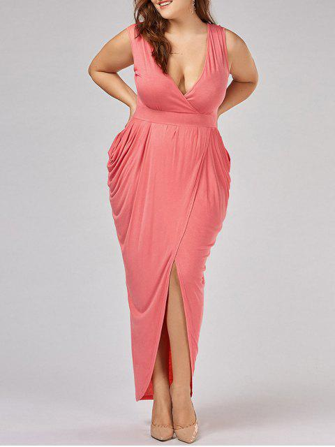 fashion Plus Size Ruched Maxi Surplice Drape Dress - ORANGEPINK 3XL Mobile