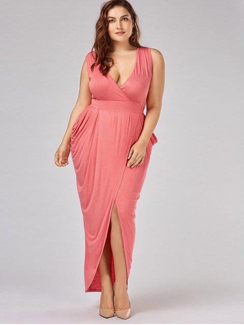 Robe à manches longues surdimensionnées - Orange Rose 4XL Mobile