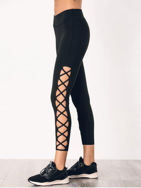 chic Stretchy Strappy Side Sporty Leggings - BLACK S Mobile