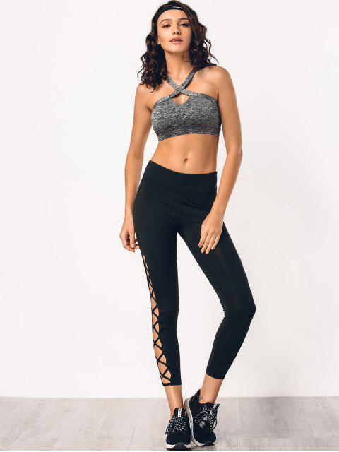 trendy Stretchy Strappy Side Sporty Leggings - BLACK L Mobile