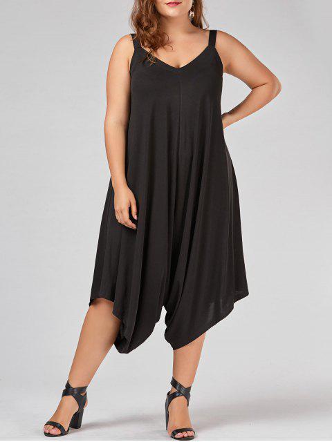 shop Plus Size V Neck Baggy Capri Jumpsuit - BLACK 4XL Mobile